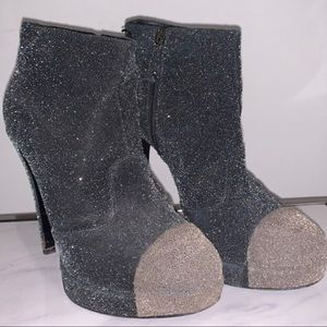 Chanel Grey Suede CC Ankle Boots